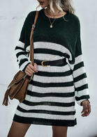 Striped Splicing Loose Knitted Sweater Mini Dress
