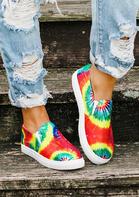 Tie Dye Slip On Round Toe Flat Sneakers
