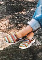 Serape Striped Slip On Flat Sneakers