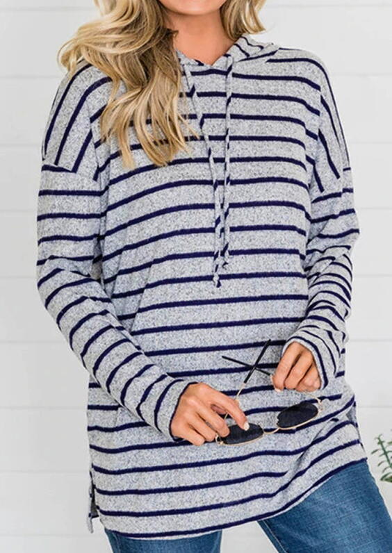 Fairyseason coupon: Striped Drawstring Slit Loose Hoodie - Dark Grey
