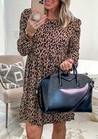 Leopard Ruffled Long Sleeve Mini Dress