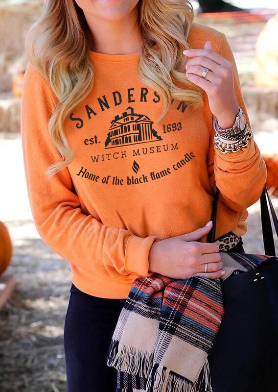 Halloween Sanderson Witch Museum O-Neck Sweatshirt - Orange