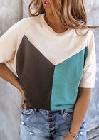 Color Block Batwing Sleeve O-Neck Blouse