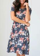 Floral O-Neck Casual Dress