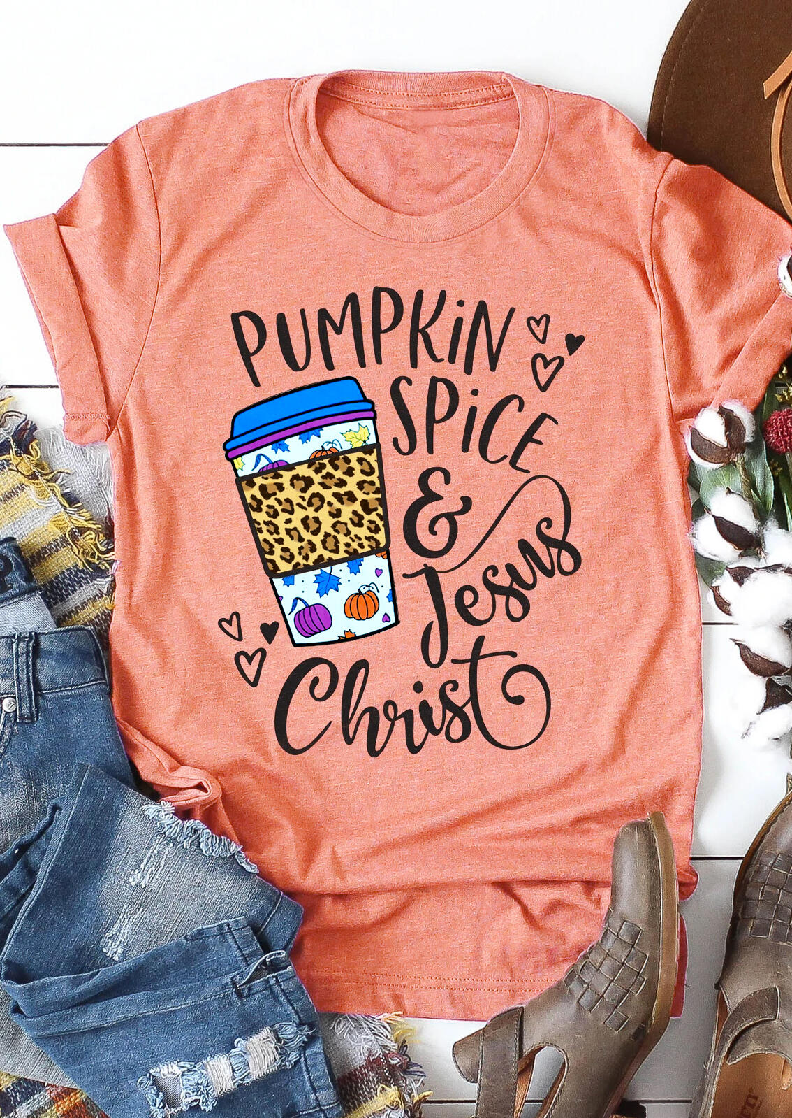 Pumpkin Spice & Jesus Christ Leopard Heart Drink T-Shirt Tee - Orange