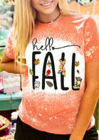 Hello Fall Maple Leaf Bleached T-Shirt