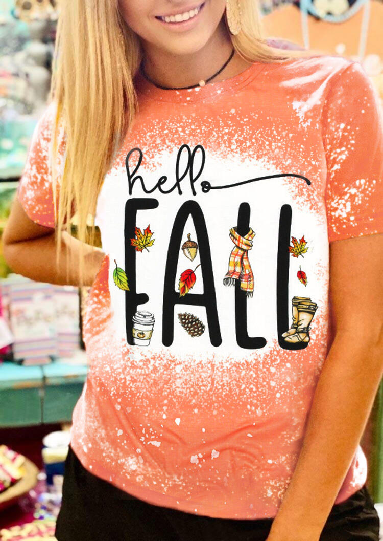 Hello Fall Maple Leaf Bleached T-Shirt Tee - Orange
