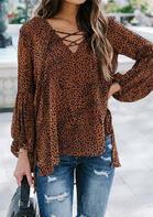 Leopard Lace Up Ruffled Slit Elastic Cuff Asymmetric Blouse