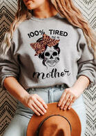 Leopard Bowknot Skull Mother Sweatshirt