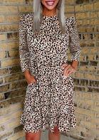 Leopard Ruffled Pocket O-Neck Mini Dress