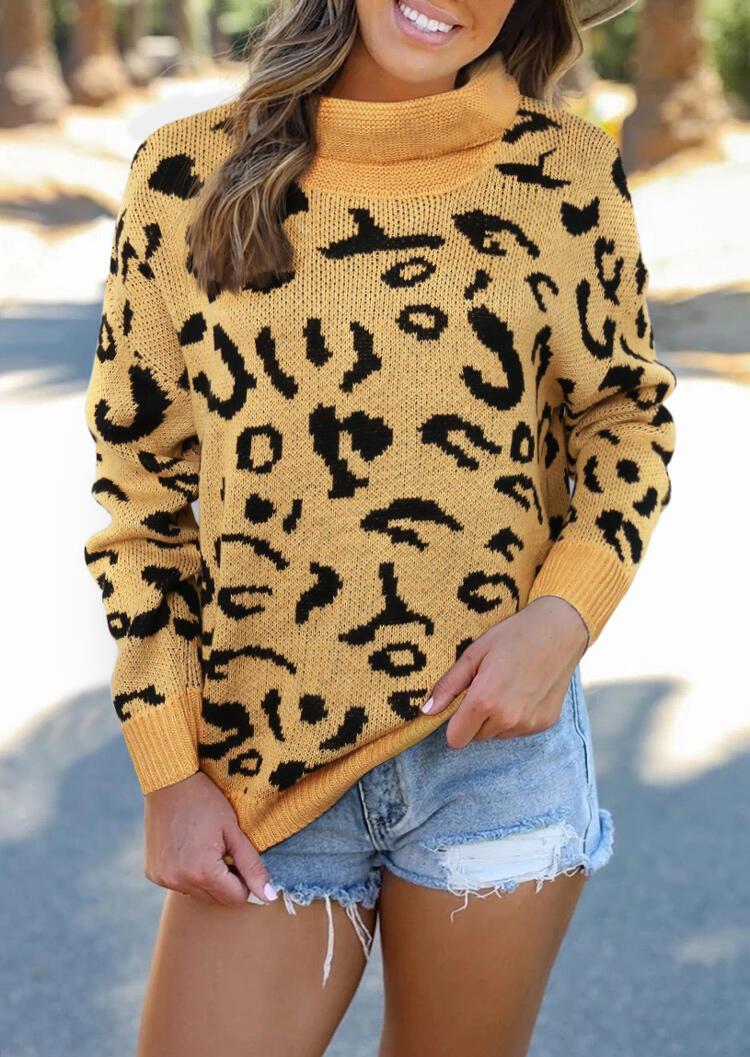 Fairyseason coupon: Leopard Turtleneck Pullover Sweater - Khaki