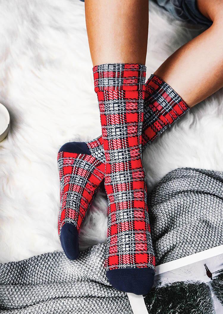 Christmas Plaid Splicing Winter Warm Socks