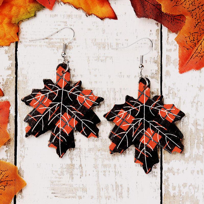 Maple Leaf Plaid Leather Earrings