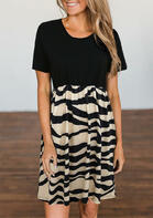 Zebra Color Block Ruffled O-Neck Mini Dress