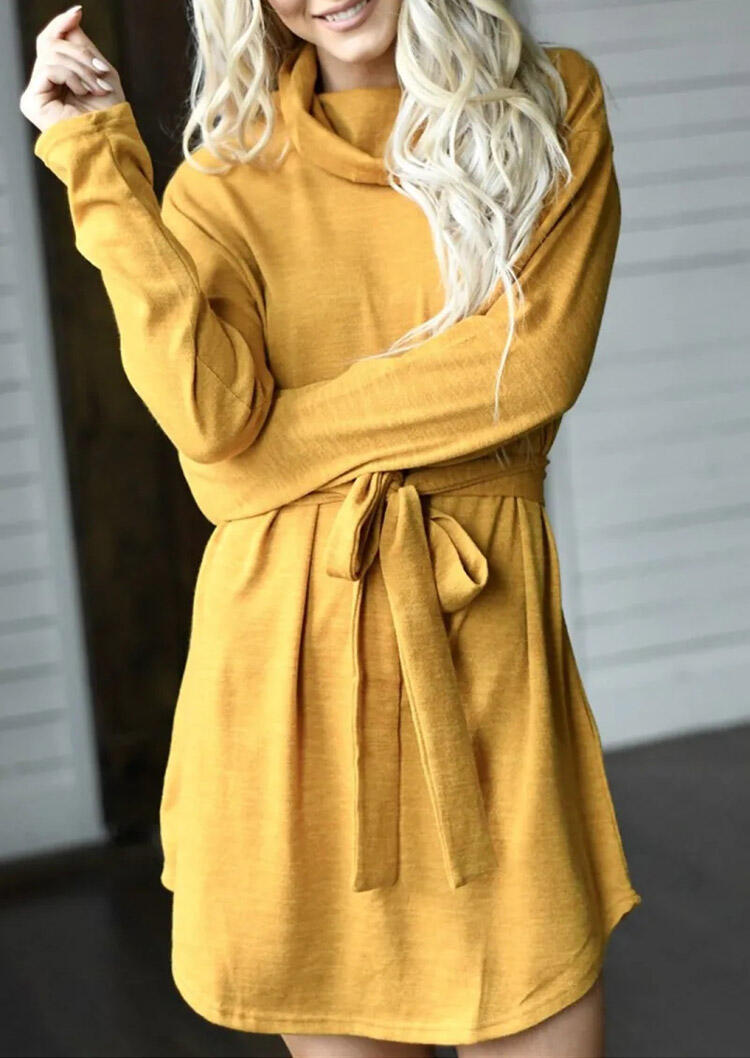 Asymmetric Long Sleeve Cowl Neck Mini Dress - Yellow
