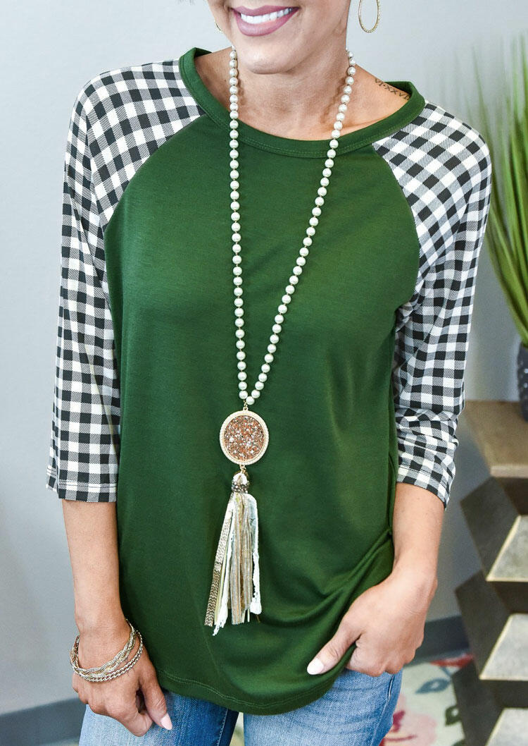 Plaid Splicing O-Neck Casual Blouse - Green