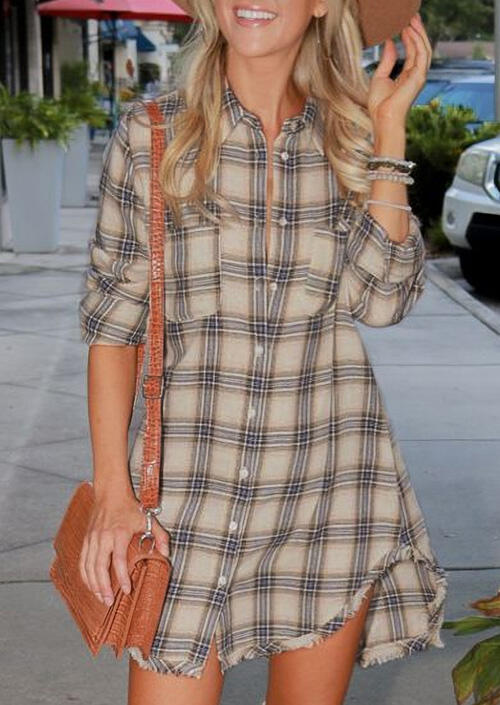 Plaid Pocket Button Asymmetric Shirt Mini Dress