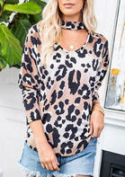 Leopard Long Sleeve Blouse with Choker