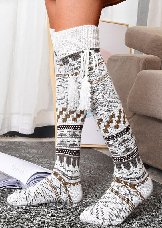 Geometric Tassel Thigh-High Socks