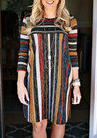 Colorful Striped Splicing Long Sleeve Mini Dress