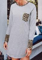 Leopard Splicing Pocket Long Sleeve Mini Dress