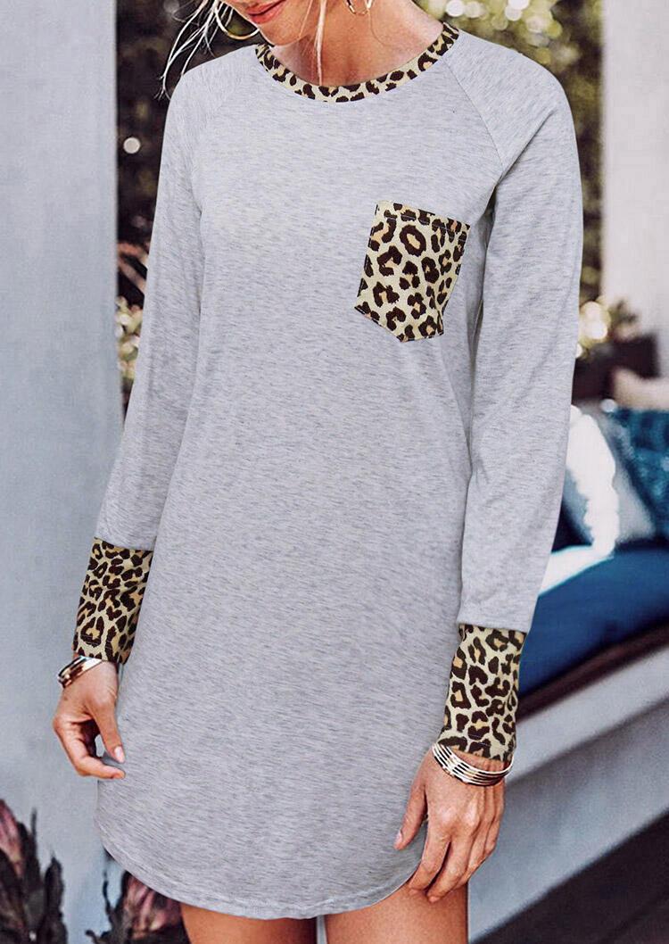 Leopard Splicing Pocket Long Sleeve Mini Dress - Light Grey