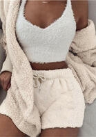 Warm Fleece Hooded Cardigan And Drawstring Shorts Two-Piece Set without Camisole
