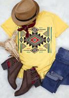 Vintage Aztec Geometric O-Neck T-Shirt