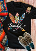 Thanksgiving Colorful Feather Arrow Letter T-Shirt