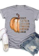 Thanksgiving Cider Pumpkins Leaves Letter T-Shirt