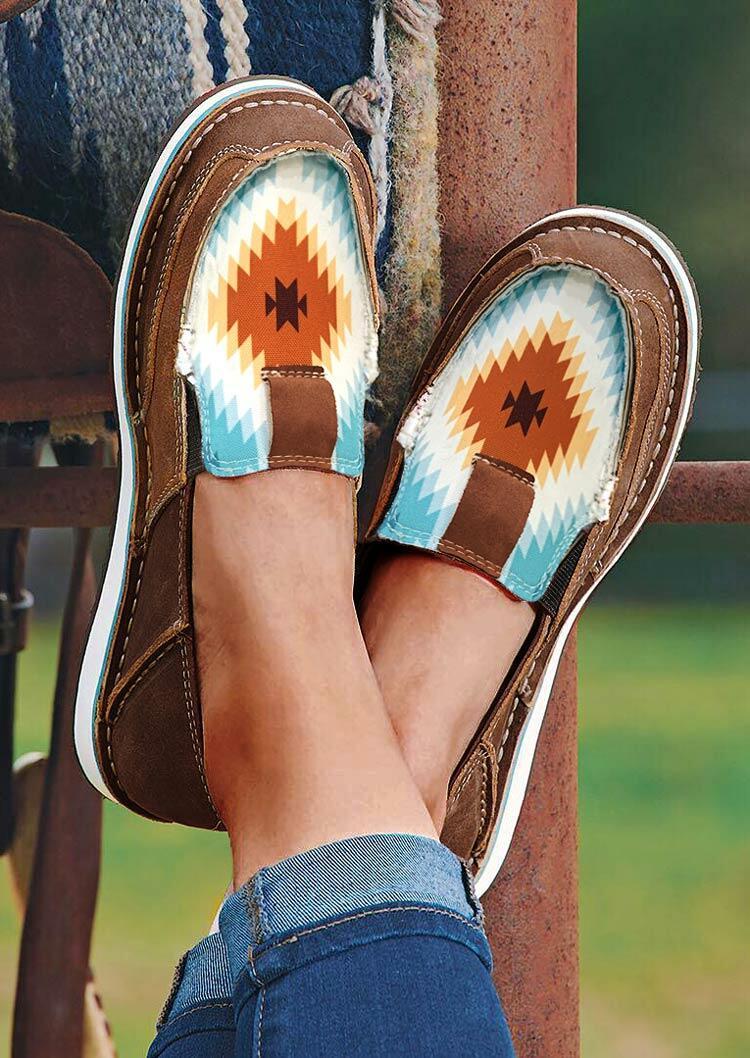 Fairyseason coupon: Aztec Geometric Slip On Flat Canvas Sneakers - Coffee