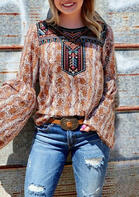 Snake Geometric Ethnic Style O-Neck Blouse