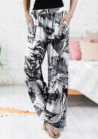 Floral Ink Painting Pocket Wide Leg Pants