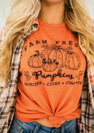 Farm Fresh Pumpkin Maple Leaf T-Shirt Tee - Orange