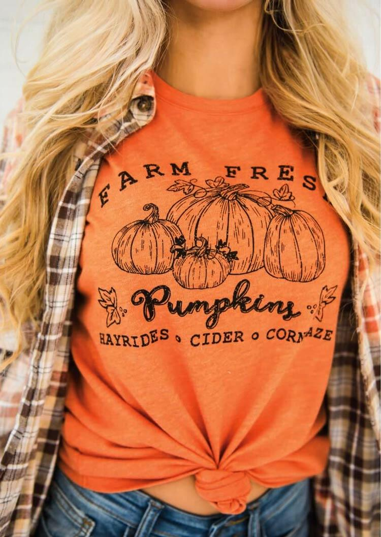 Farm Fresh Pumpkin Maple Leaf T-Shirt Tee - Orange