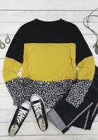Color Block Leopard Splicing Long Sleeve Blouse