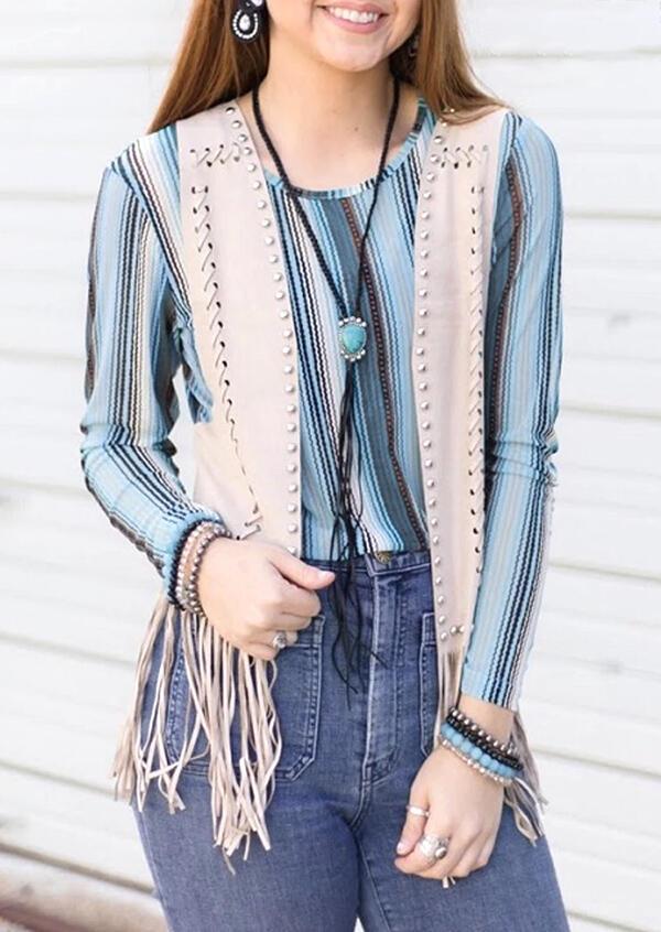 Fairyseason coupon: Striped O-Neck Long Sleeve Blouse
