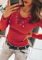 Lace Up Long Sleeve V-Neck Blouse