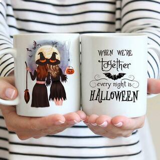 Halloween Pumpkin Batwing When We're Together Ceramic Mug