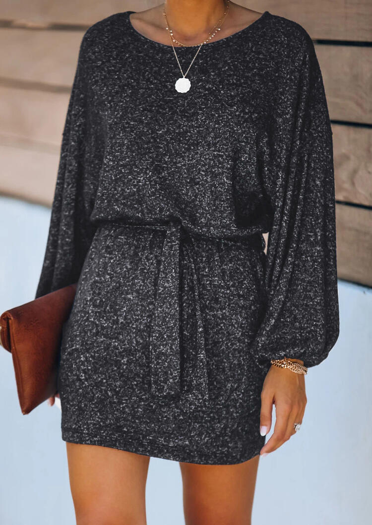 Open Back Wrap Tie Elastic Cuff knitted Mini Dress - Black