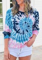 Tie Dye Gradient Swirl O-Neck Sweatshirt