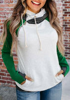 Color Block Pocket Doublehood Raglan Sleeve Hoodie