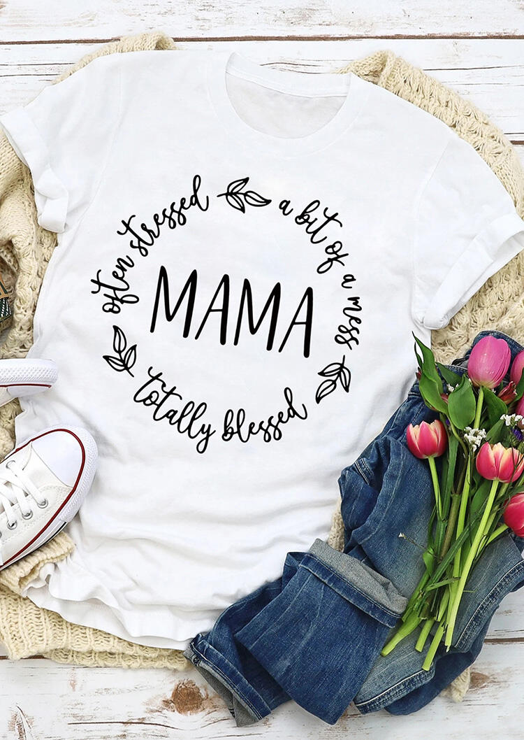 Fairyseason coupon: Mama A Bit of A Mess Totally Blessed Leaf T-Shirt Tee - White