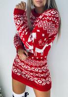 Christmas Tree Reindeer Snowflake Knitted Mini Dress - Red