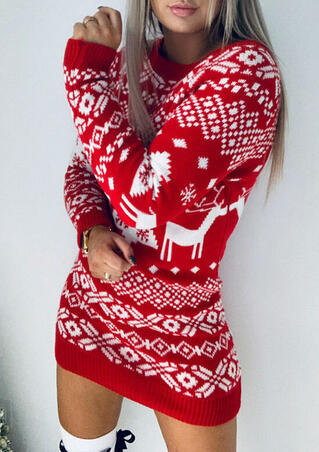 Christmas Tree Reindeer Snowflake Knitted Mini Dress - Red