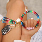 Serape Striped Tasssel Keyring Leather Bracelet