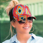 Aztec Geometric Criss-Cross Mesh Splicing Baseball Cap