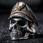 Vintage Soldier Skull Open Adjustable Ring