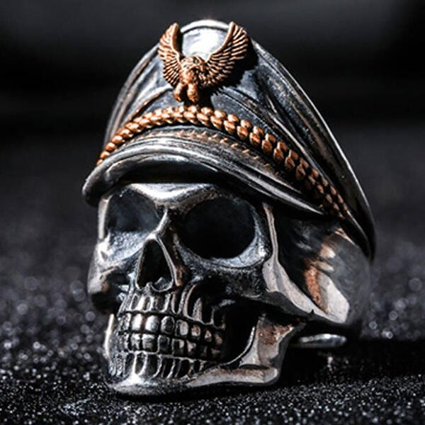 Vintage Soldier Skull Open Adjustable Ring