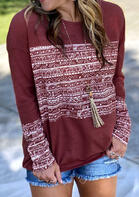Geometric Long Sleeve O-Neck T-Shirt